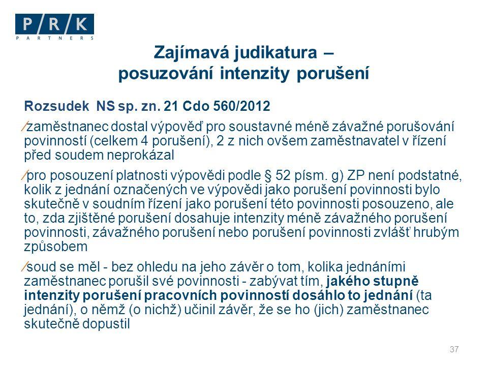 Rozsudek NS sp. zn. 21 Cdo 560/2012 ⁄zaměstnanec dostal výpověď pro soustavné méně závažné porušování povinností (celkem 4 porušení), 2 z nich ovšem z