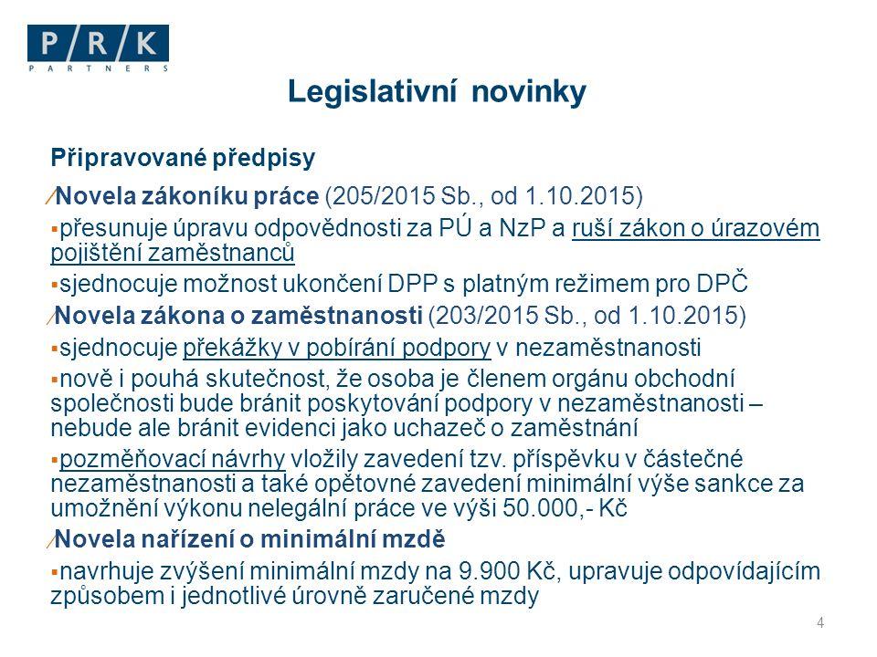 Připravované předpisy ⁄Novela zákoníku práce (205/2015 Sb., od 1.10.2015)  přesunuje úpravu odpovědnosti za PÚ a NzP a ruší zákon o úrazovém pojištěn