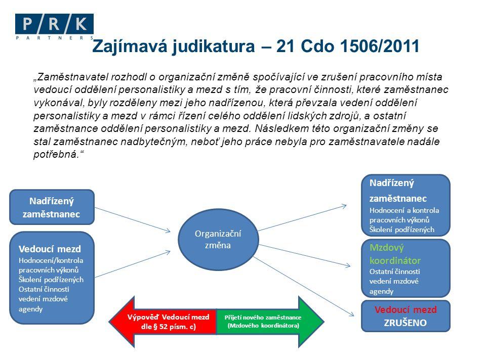 Zajímavá judikatura – 21 Cdo 1506/2011 Vedoucí mezd Hodnocení/kontrola pracovních výkonů Školení podřízených Ostatní činnosti vedení mzdové agendy Mzd