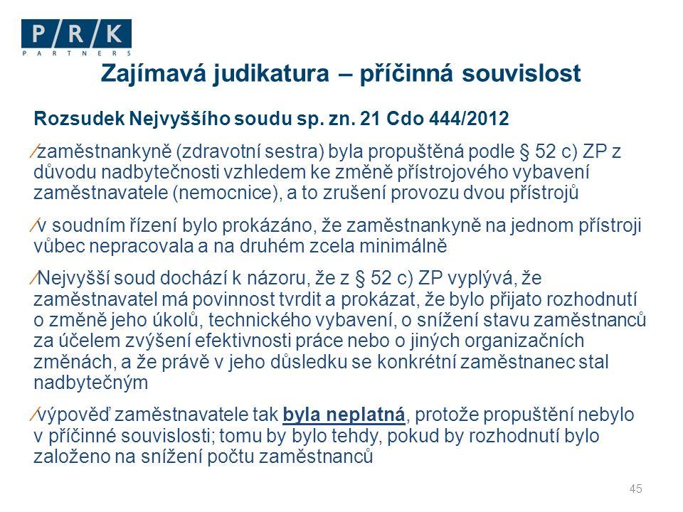 Rozsudek Nejvyššího soudu sp. zn. 21 Cdo 444/2012 ∕zaměstnankyně (zdravotní sestra) byla propuštěná podle § 52 c) ZP z důvodu nadbytečnosti vzhledem k