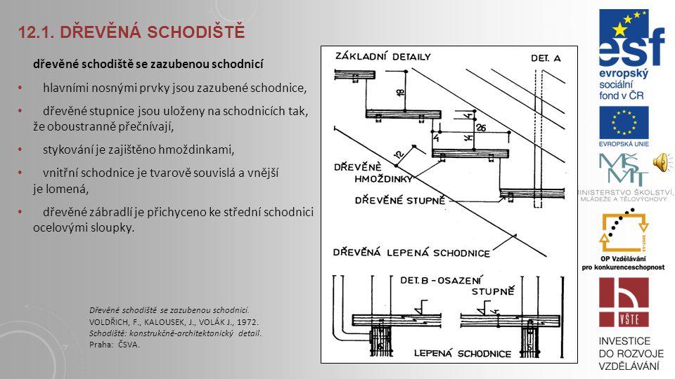 12.1. DŘEVĚNÁ SCHODIŠTĚ dřevěné schodiště se zazubenou schodnicí Dřevěné schodiště se zazubenou schodnicí. VOLDŘICH, F., KALOUSEK, J., VOLÁK J., 1972.