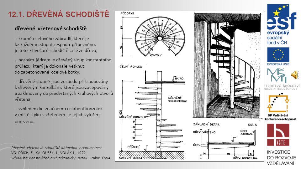12.1. DŘEVĚNÁ SCHODIŠTĚ schodiště s ocelovými schodnicemi a dřevěnými masivními stupni - schodnice jsou prostřednictvím šroubových nebo nýtových spojů