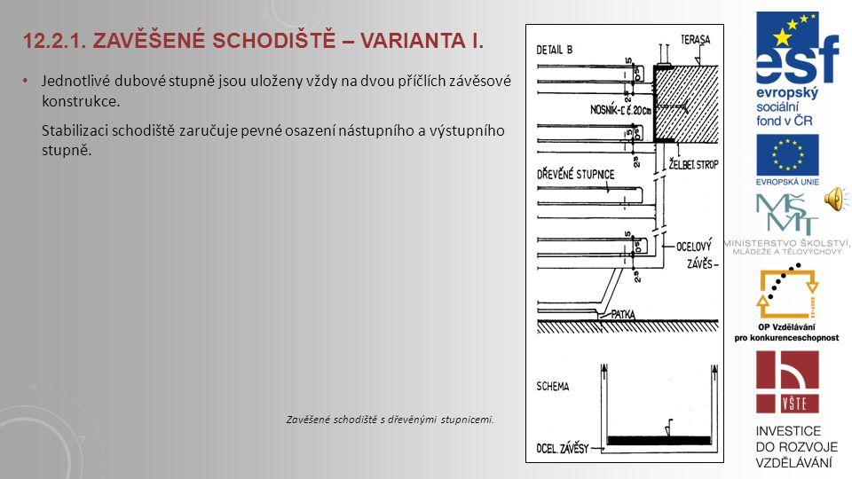 12.2. OCELODŘEVĚNÉ SCHODIŠTĚ 12.2.1. Zavěšené schodiště – varianta I. Toto schodiště je vhodné jak do interiéru, tak i exteriéru budovy. Ocelové závěs