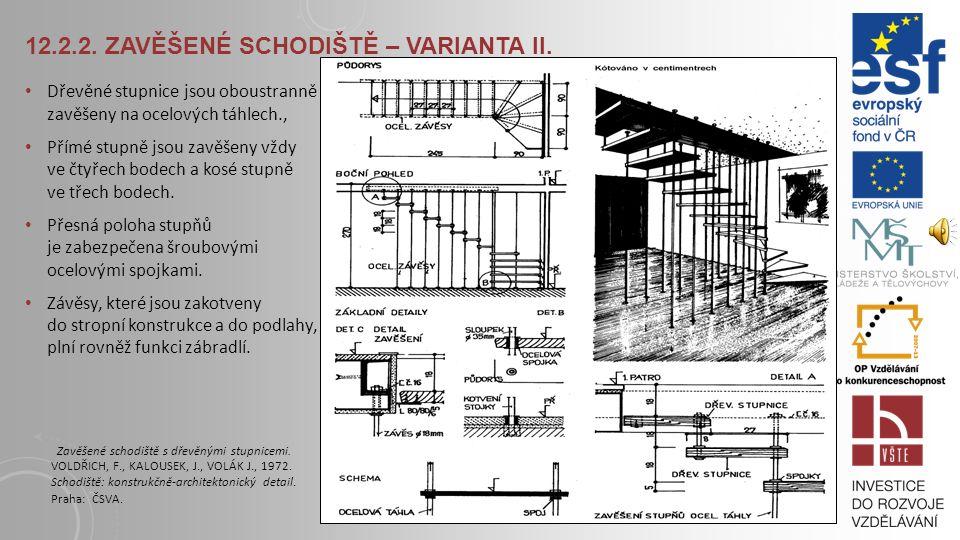 12.2.1. ZAVĚŠENÉ SCHODIŠTĚ – VARIANTA I. Jednotlivé dubové stupně jsou uloženy vždy na dvou příčlích závěsové konstrukce. Stabilizaci schodiště zaruču