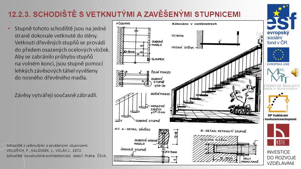 12.2.2. ZAVĚŠENÉ SCHODIŠTĚ – VARIANTA II. Dřevěné stupnice jsou oboustranně zavěšeny na ocelových táhlech., Přímé stupně jsou zavěšeny vždy ve čtyřech