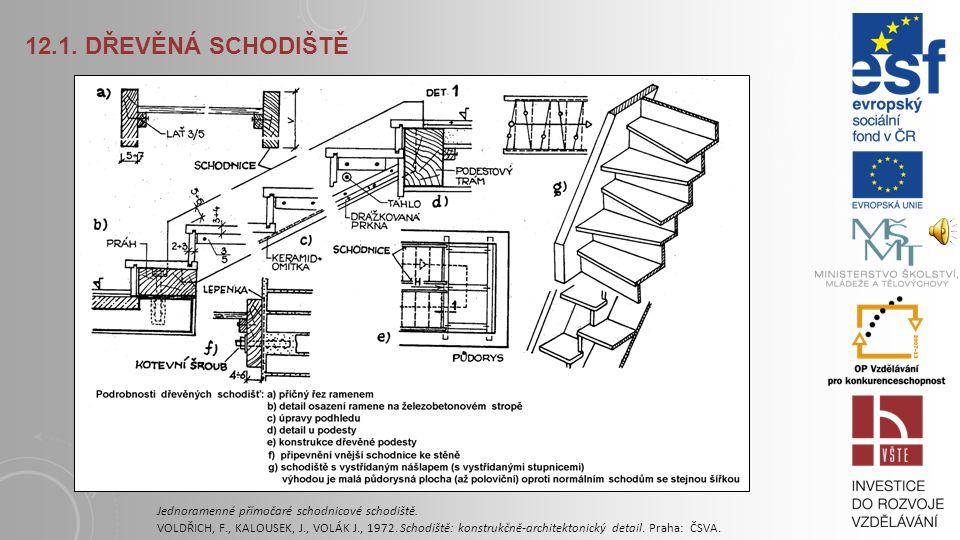 12.1. DŘEVĚNÁ SCHODIŠTĚ Smíšené dřevěné schodiště. VOLDŘICH, F., KALOUSEK, J., VOLÁK J., 1972. Schodiště: konstrukčně-architektonický detail. Praha: Č