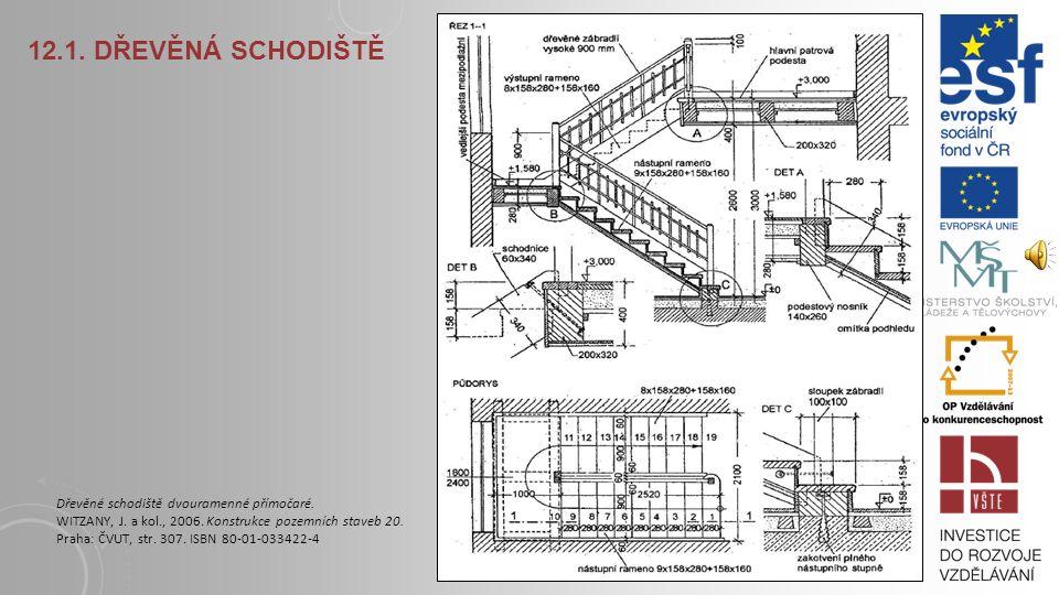 12.1. DŘEVĚNÁ SCHODIŠTĚ Jednoramenné přímočaré schodnicové schodiště. VOLDŘICH, F., KALOUSEK, J., VOLÁK J., 1972. Schodiště: konstrukčně-architektonic