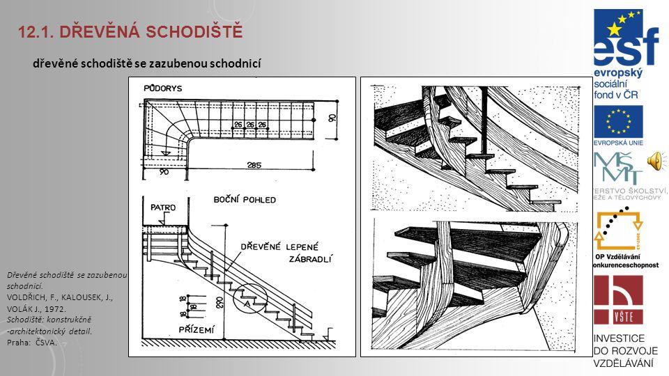 12.1. DŘEVĚNÁ SCHODIŠTĚ Dřevěné schodiště dvouramenné přímočaré. WITZANY, J. a kol., 2006. Konstrukce pozemních staveb 20. Praha: ČVUT, str. 307. ISBN