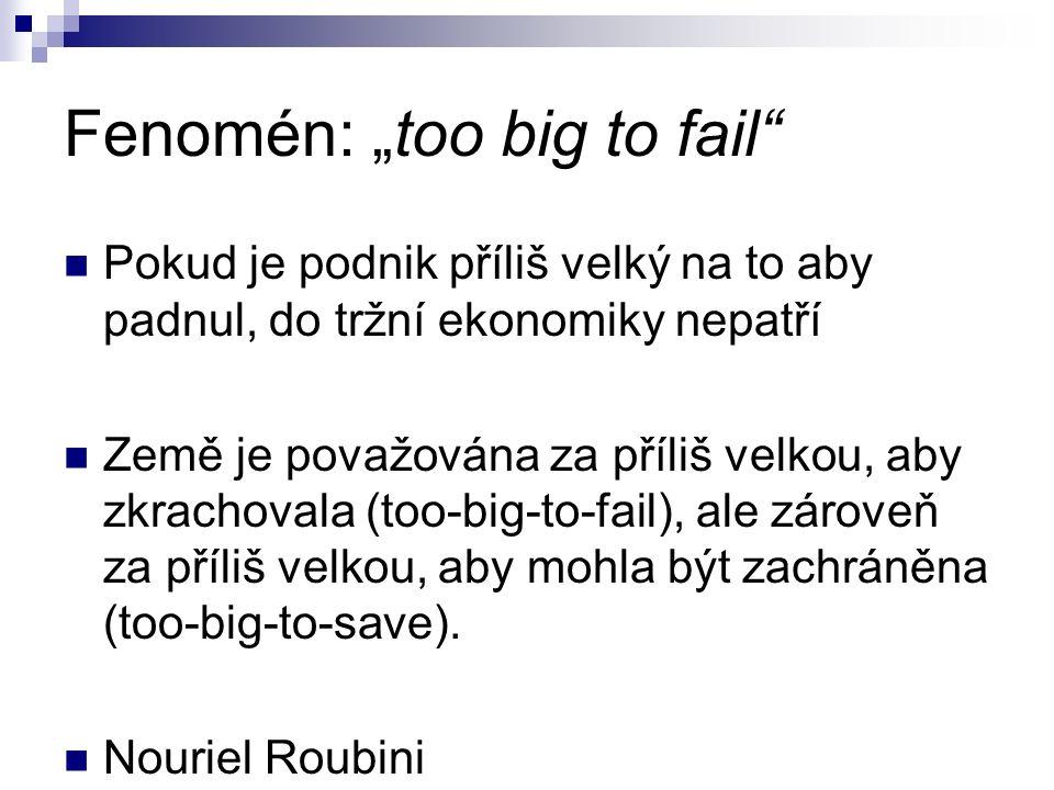"""Fenomén: """"too big to fail Pokud je podnik příliš velký na to aby padnul, do tržní ekonomiky nepatří Země je považována za příliš velkou, aby zkrachovala (too-big-to-fail), ale zároveň za příliš velkou, aby mohla být zachráněna (too-big-to-save)."""