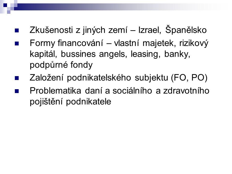Zkušenosti z jiných zemí – Izrael, Španělsko Formy financování – vlastní majetek, rizikový kapitál, bussines angels, leasing, banky, podpůrné fondy Založení podnikatelského subjektu (FO, PO) Problematika daní a sociálního a zdravotního pojištění podnikatele