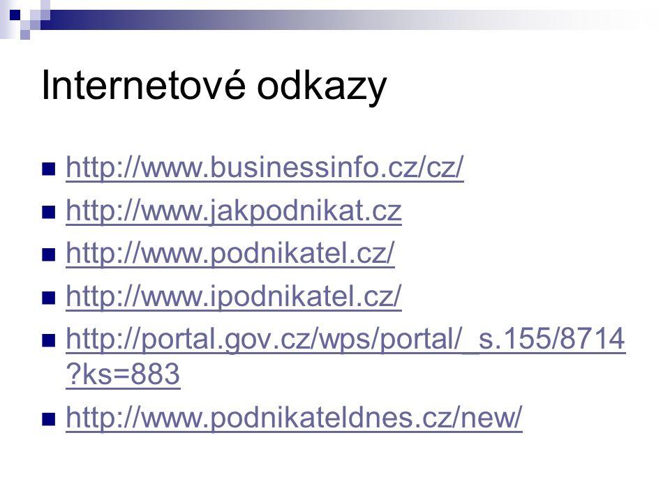 Internetové odkazy http://www.businessinfo.cz/cz/ http://www.jakpodnikat.cz http://www.podnikatel.cz/ http://www.ipodnikatel.cz/ http://portal.gov.cz/wps/portal/_s.155/8714 ?ks=883 http://portal.gov.cz/wps/portal/_s.155/8714 ?ks=883 http://www.podnikateldnes.cz/new/