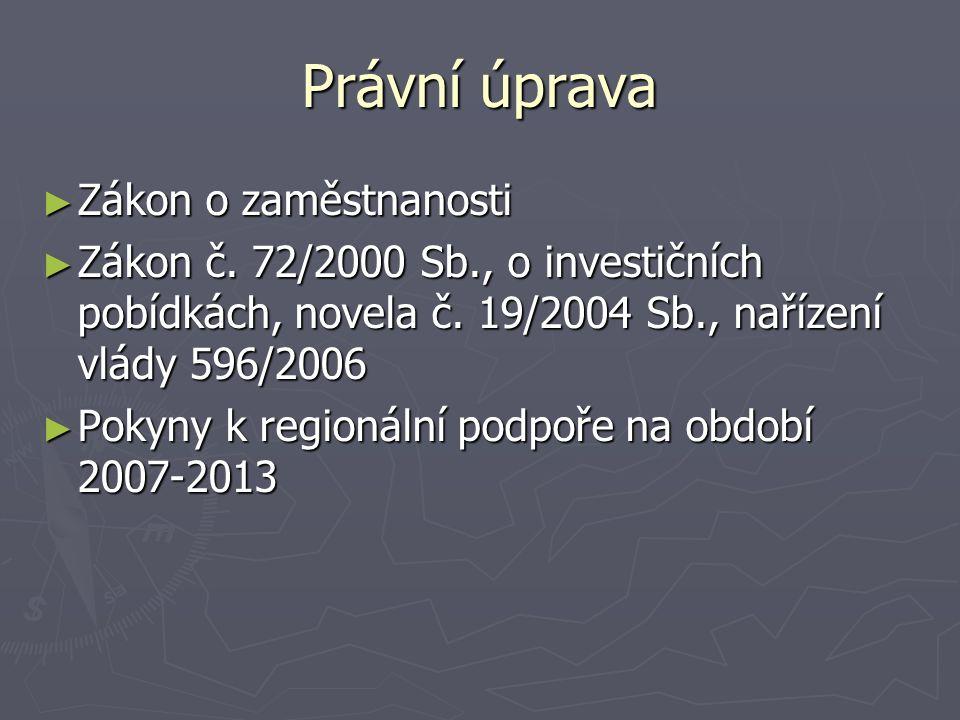 Právní úprava ► Zákon o zaměstnanosti ► Zákon č.72/2000 Sb., o investičních pobídkách, novela č.