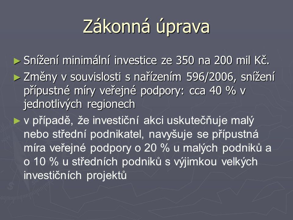 Zákonná úprava ► Snížení minimální investice ze 350 na 200 mil Kč.