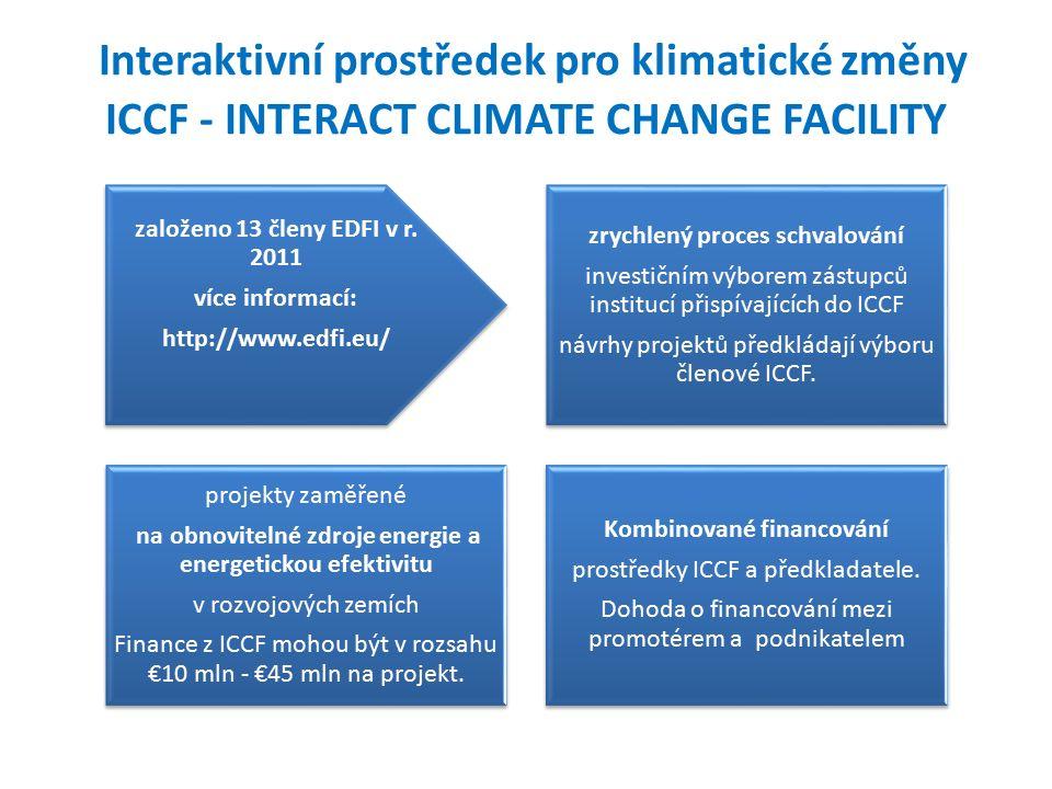 Interaktivní prostředek pro klimatické změny ICCF - INTERACT CLIMATE CHANGE FACILITY založeno 13 členy EDFI v r.