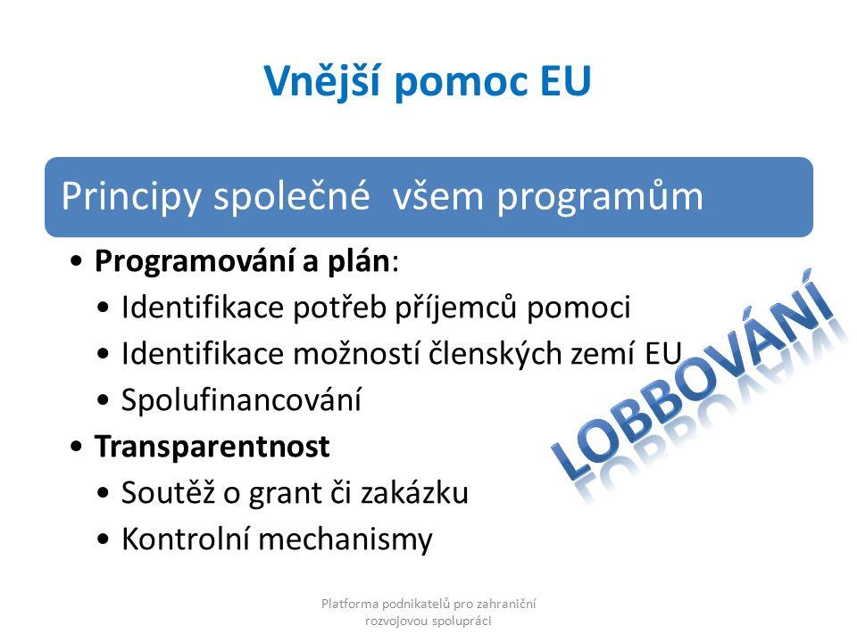 Vnější pomoc EU Principy společné všem programům Programování a plán: Identifikace potřeb příjemců pomoci Identifikace možností členských zemí EU Spolufinancování Transparentnost Soutěž o grant či zakázku Kontrolní mechanismy Platforma podnikatelů pro zahraniční rozvojovou spolupráci