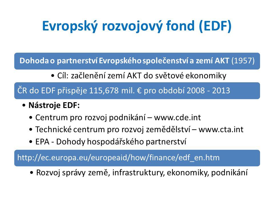 Evropský rozvojový fond (EDF) Dohoda o partnerství Evropského společenství a zemí AKT (1957) Cíl: začlenění zemí AKT do světové ekonomiky ČR do EDF přispěje 115,678 mil.