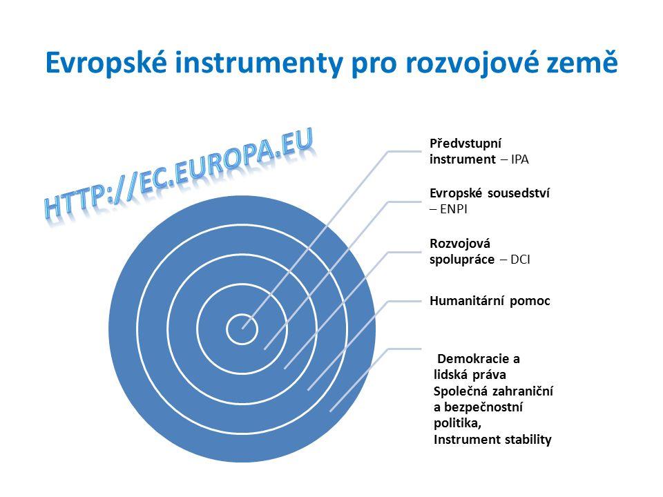 Evropské instrumenty pro rozvojové země Předvstupní instrument – IPA Evropské sousedství – ENPI Rozvojová spolupráce – DCI Humanitární pomoc Demokracie a lidská práva Společná zahraniční a bezpečnostní politika, Instrument stability