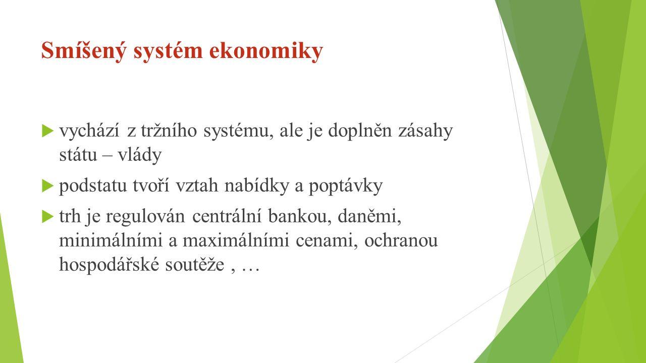Smíšený systém ekonomiky  vychází z tržního systému, ale je doplněn zásahy státu – vlády  podstatu tvoří vztah nabídky a poptávky  trh je regulován centrální bankou, daněmi, minimálními a maximálními cenami, ochranou hospodářské soutěže, …