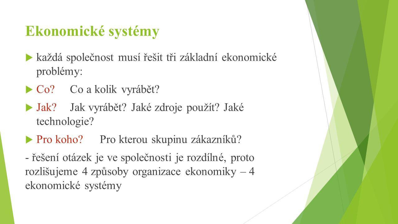 Ekonomické systémy  každá společnost musí řešit tři základní ekonomické problémy:  Co Co a kolik vyrábět.
