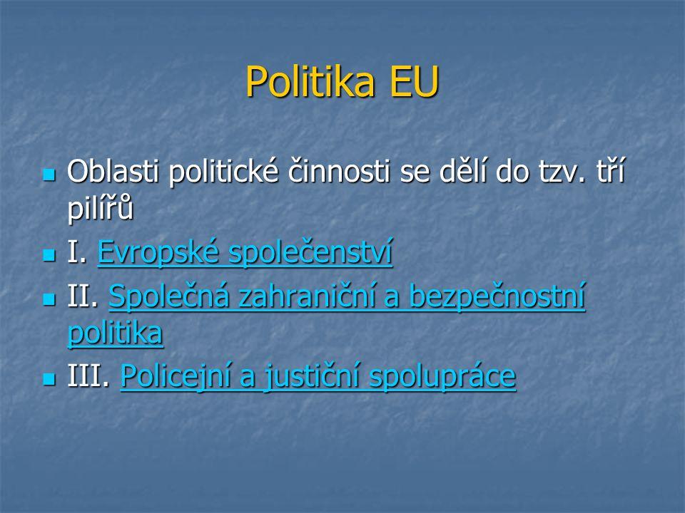 Politika EU Oblasti politické činnosti se dělí do tzv. tří pilířů Oblasti politické činnosti se dělí do tzv. tří pilířů I. Evropské společenství I. Ev
