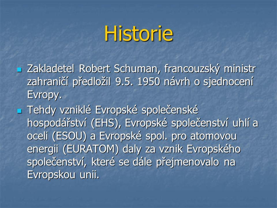 Historie Zakladetel Robert Schuman, francouzský ministr zahraničí předložil 9.5.