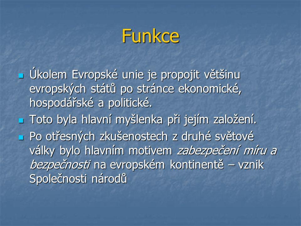 Funkce Úkolem Evropské unie je propojit většinu evropských států po stránce ekonomické, hospodářské a politické.