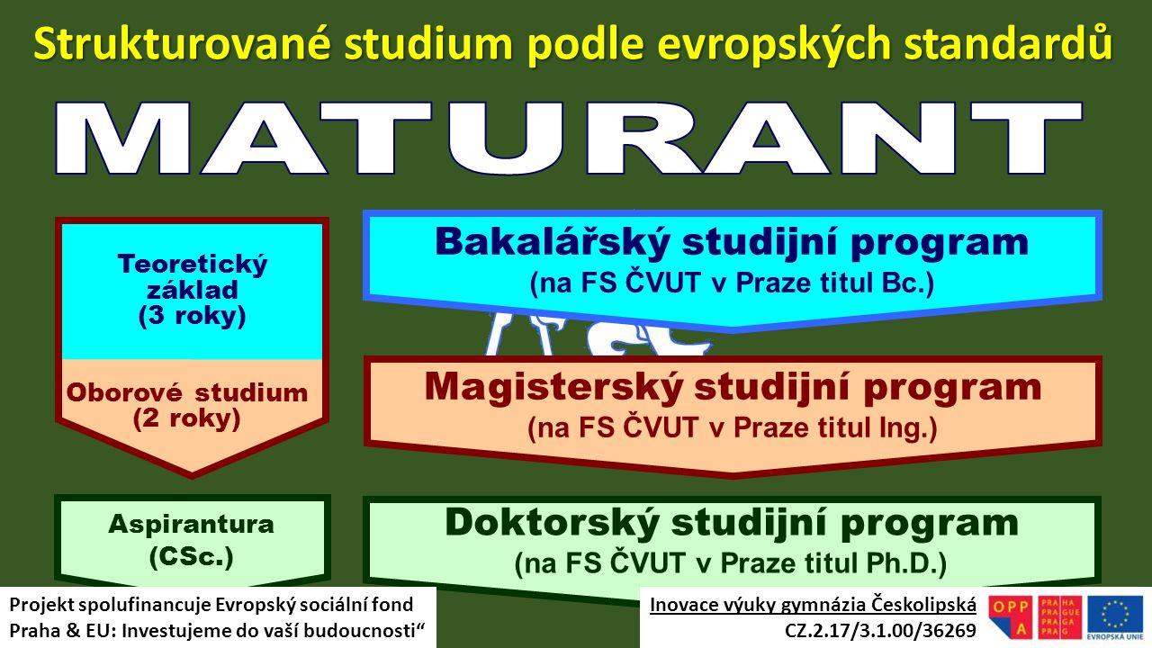 Strukturované studium podle evropských standardů Magisterský studijní program (na FS ČVUT v Praze titul Ing.) Bakalářský studijní program (na FS ČVUT