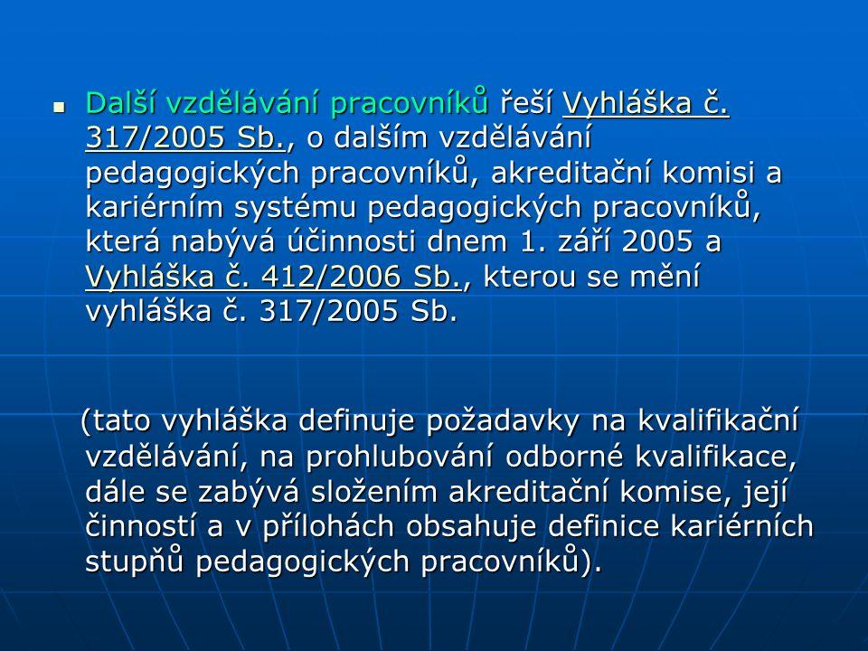 Další vzdělávání pracovníků řeší Vyhláška č.