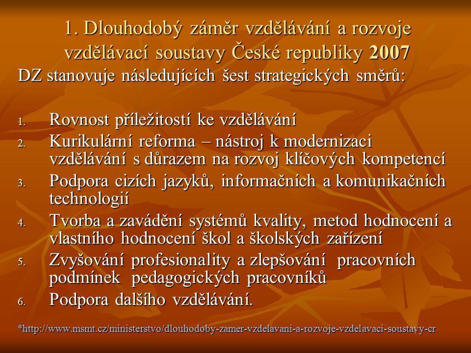 1. Dlouhodobý záměr vzdělávání a rozvoje vzdělávací soustavy České republiky 2007 DZ stanovuje následujících šest strategických směrů: 1. Rovnost příl