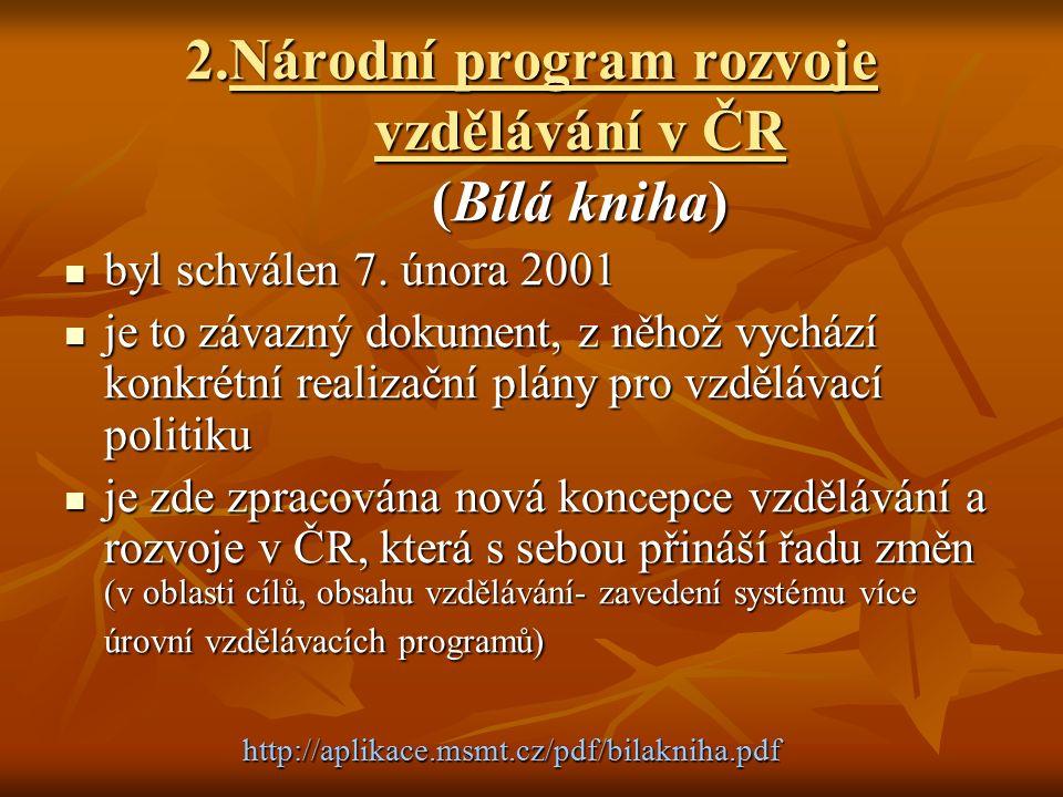 2.Národní program rozvoje vzdělávání v ČR (Bílá kniha) byl schválen 7.