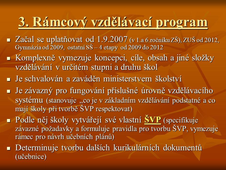 3. Rámcový vzdělávací program Začal se uplatňovat od 1.9.2007 (v 1.a 6.ročníku ZŠ), ZUŠ od 2012, Gymnázia od 2009, ostatní SŠ – 4 etapy od 2009 do 201