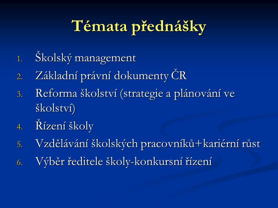 Témata přednášky 1.Školský management 2. Základní právní dokumenty ČR 3.