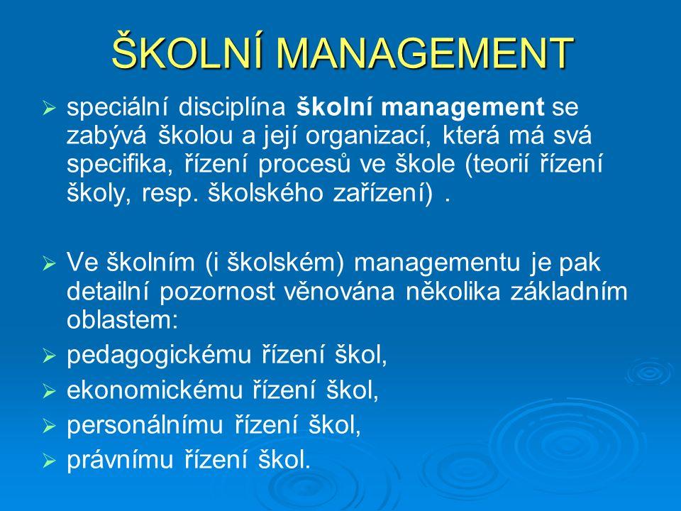 ŠKOLNÍ MANAGEMENT   speciální disciplína školní management se zabývá školou a její organizací, která má svá specifika, řízení procesů ve škole (teorií řízení školy, resp.