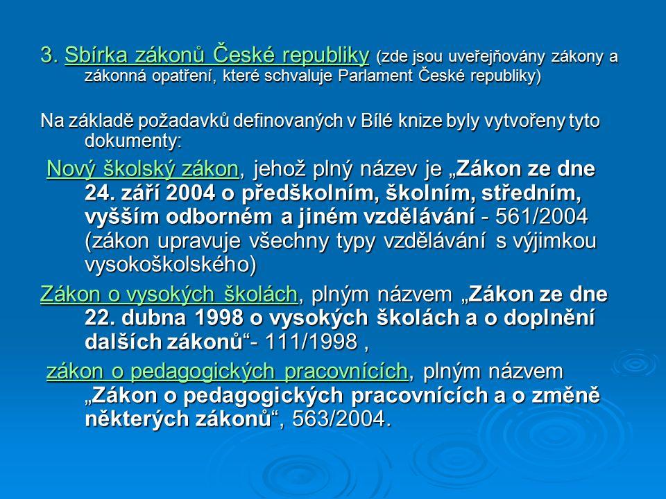 3. Sbírka zákonů České republiky (zde jsou uveřejňovány zákony a zákonná opatření, které schvaluje Parlament České republiky) Na základě požadavků def