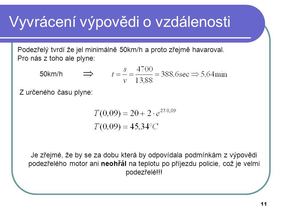 11 Vyvrácení výpovědi o vzdálenosti Podezřelý tvrdí že jel minimálně 50km/h a proto zřejmě havaroval.
