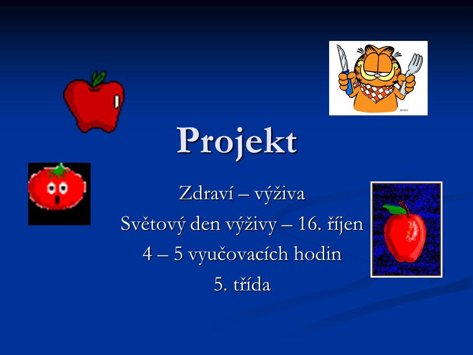Projekt Zdraví – výživa Světový den výživy – 16. říjen 4 – 5 vyučovacích hodin 5. třída
