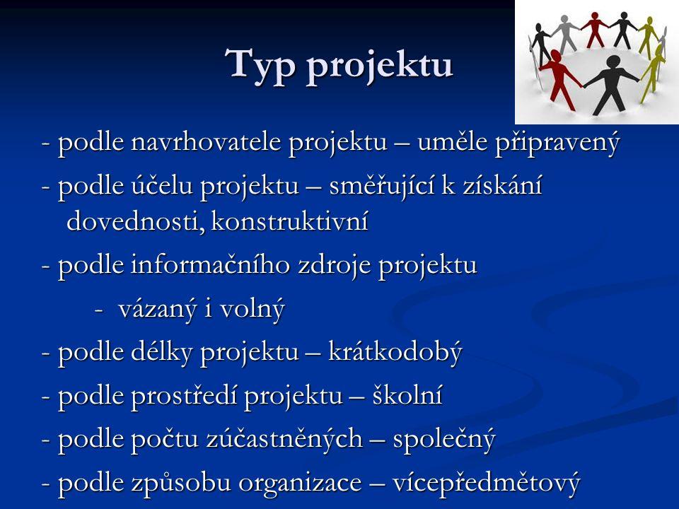 Typ projektu - podle navrhovatele projektu – uměle připravený - podle účelu projektu – směřující k získání dovednosti, konstruktivní - podle informačního zdroje projektu - vázaný i volný - vázaný i volný - podle délky projektu – krátkodobý - podle prostředí projektu – školní - podle počtu zúčastněných – společný - podle způsobu organizace – vícepředmětový