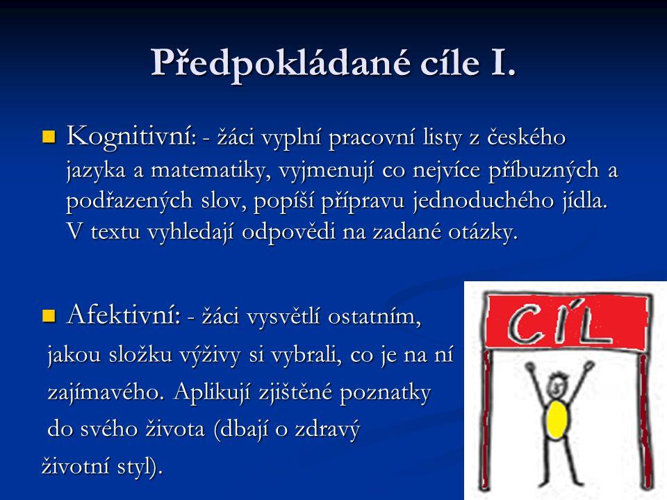Předpokládané cíle II.
