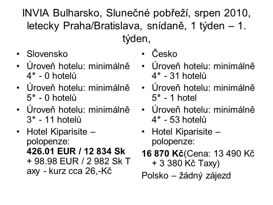 INVIA Bulharsko, Slunečné pobřeží, srpen 2010, letecky Praha/Bratislava, snídaně, 1 týden – 1. týden, Slovensko Úroveň hotelu: minimálně 4٭ - 0 hotelů