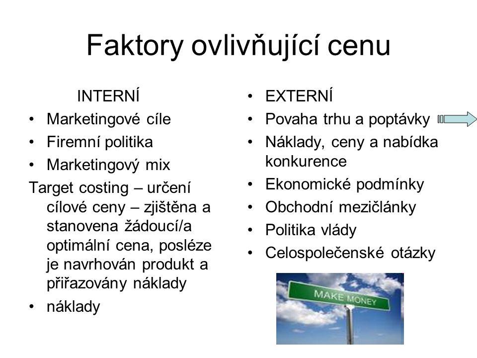 Faktory ovlivňující cenu INTERNÍ Marketingové cíle Firemní politika Marketingový mix Target costing – určení cílové ceny – zjištěna a stanovena žádouc