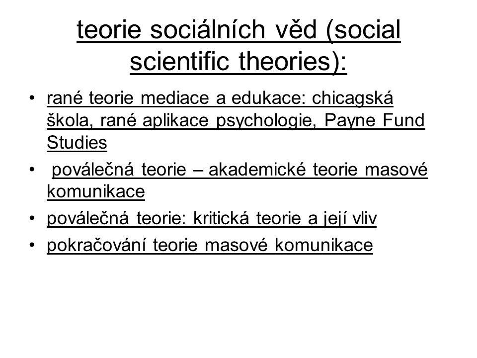 teorie sociálních věd (social scientific theories): rané teorie mediace a edukace: chicagská škola, rané aplikace psychologie, Payne Fund Studies pová