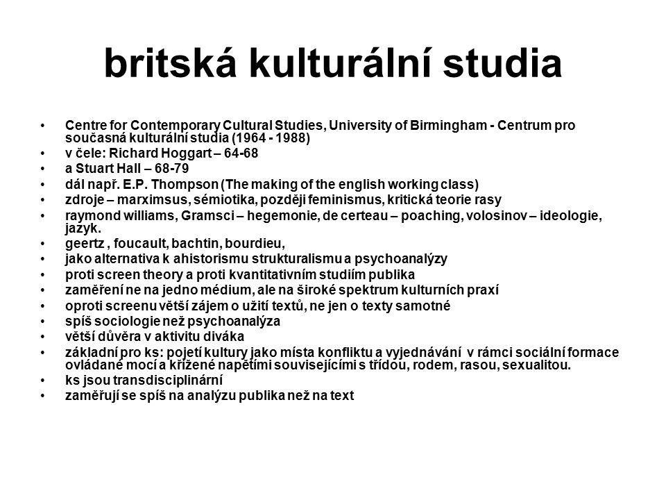 britská kulturální studia Centre for Contemporary Cultural Studies, University of Birmingham - Centrum pro současná kulturální studia (1964 - 1988) v čele: Richard Hoggart – 64-68 a Stuart Hall – 68-79 dál např.