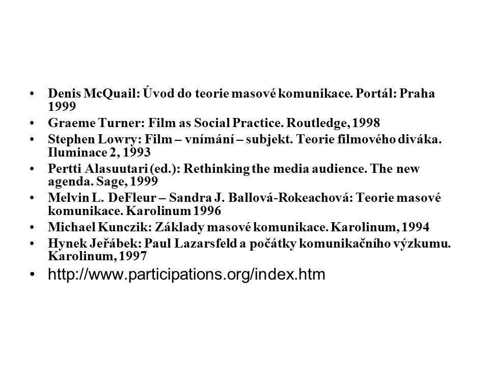 Denis McQuail: Úvod do teorie masové komunikace. Portál: Praha 1999 Graeme Turner: Film as Social Practice. Routledge, 1998 Stephen Lowry: Film – vním