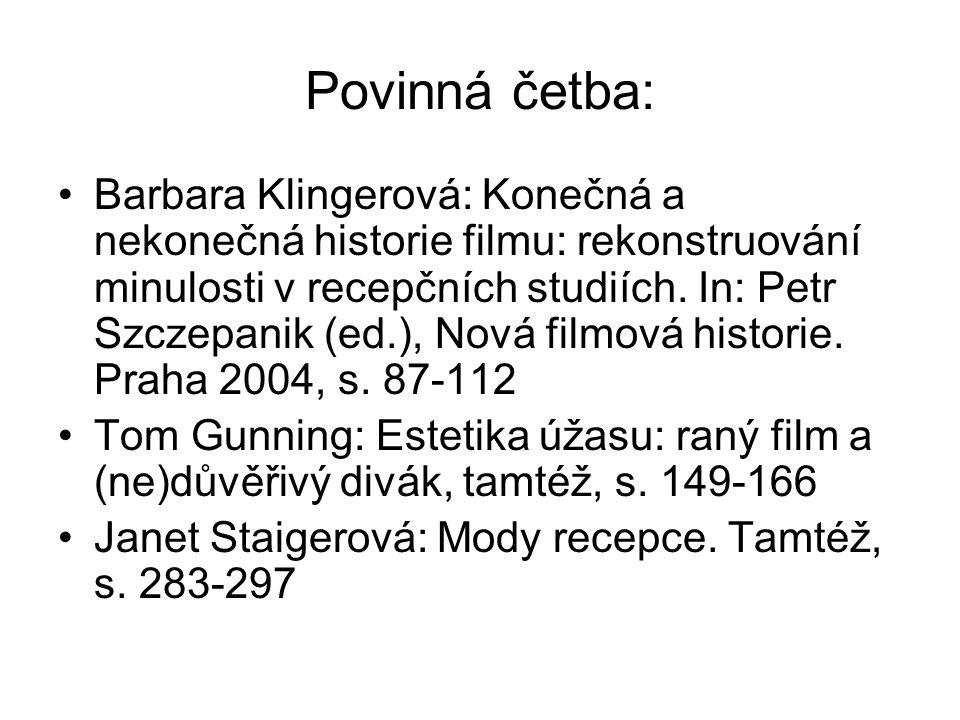 Povinná četba: Barbara Klingerová: Konečná a nekonečná historie filmu: rekonstruování minulosti v recepčních studiích.