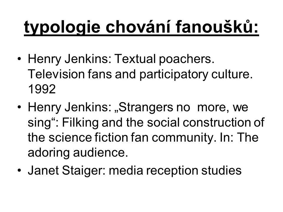 """typologie chování fanoušků: Henry Jenkins: Textual poachers. Television fans and participatory culture. 1992 Henry Jenkins: """"Strangers no more, we sin"""