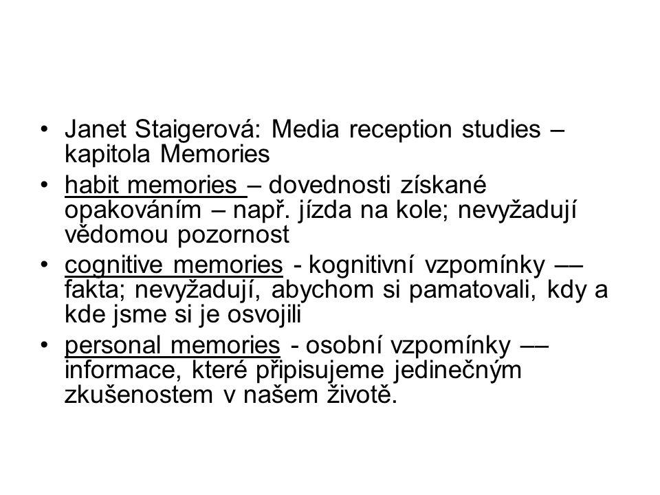 Janet Staigerová: Media reception studies – kapitola Memories habit memories – dovednosti získané opakováním – např. jízda na kole; nevyžadují vědomou
