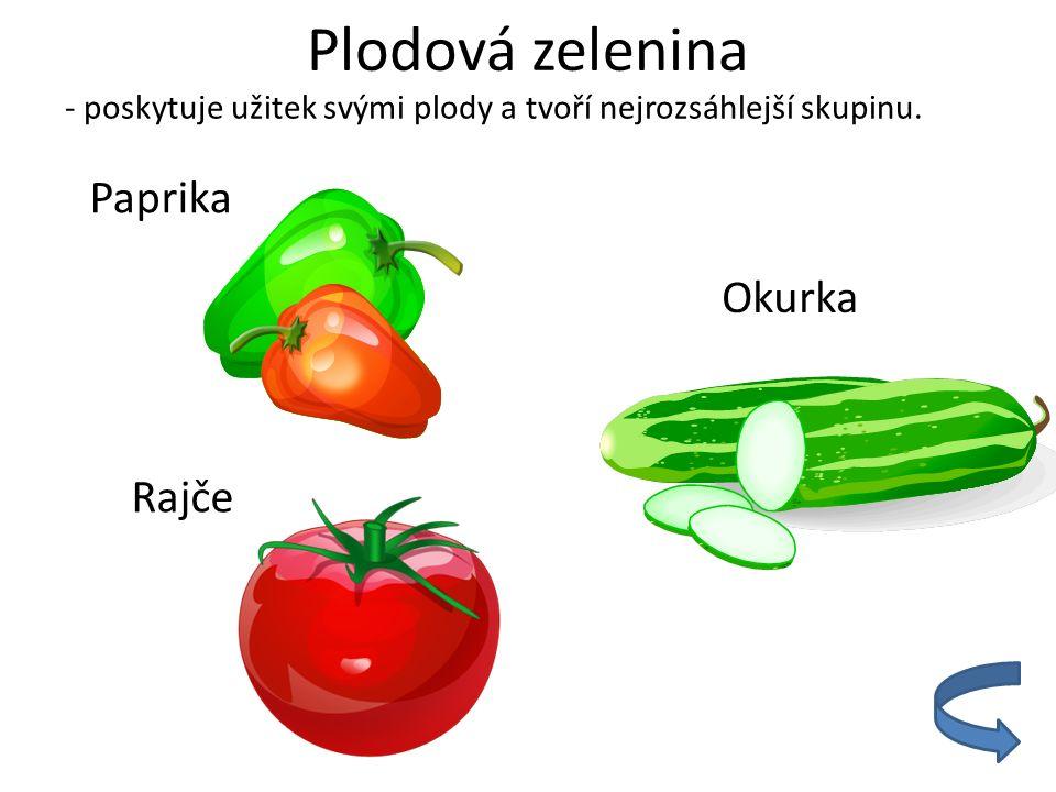 Plodová zelenina - poskytuje užitek svými plody a tvoří nejrozsáhlejší skupinu. Paprika Rajče Okurka