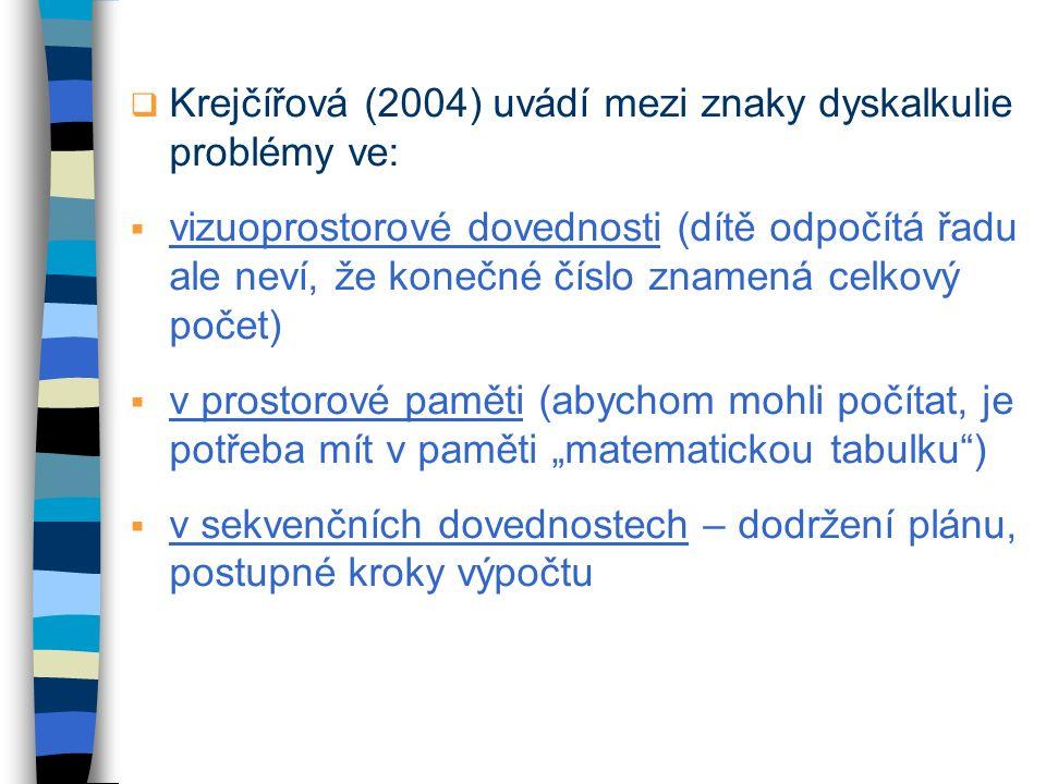  Krejčířová (2004) uvádí mezi znaky dyskalkulie problémy ve:  vizuoprostorové dovednosti (dítě odpočítá řadu ale neví, že konečné číslo znamená celk