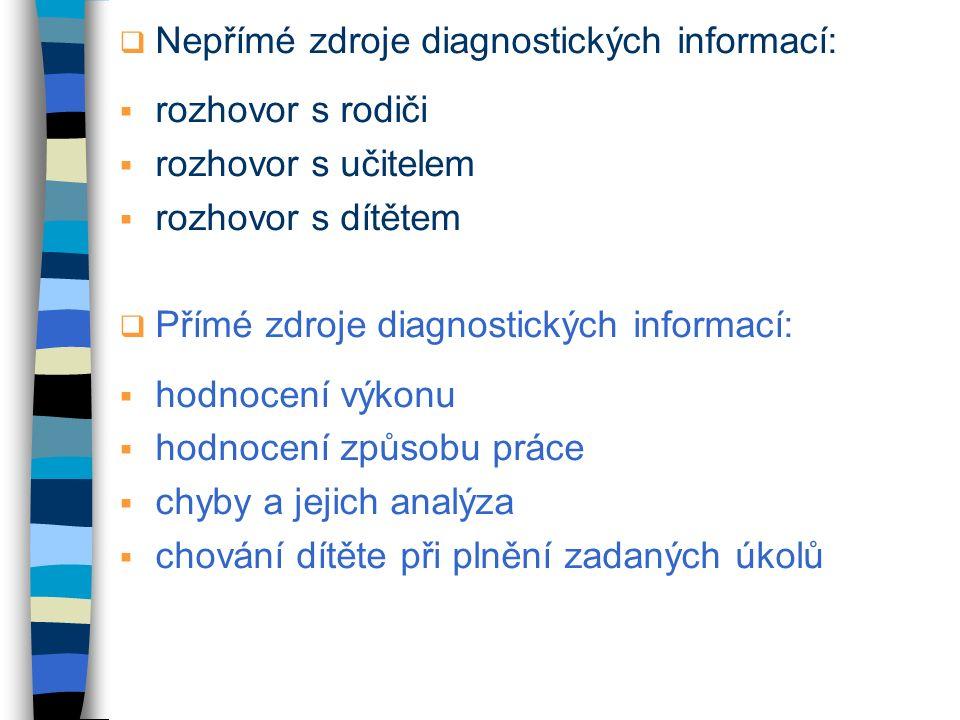  Nepřímé zdroje diagnostických informací:  rozhovor s rodiči  rozhovor s učitelem  rozhovor s dítětem  Přímé zdroje diagnostických informací:  h