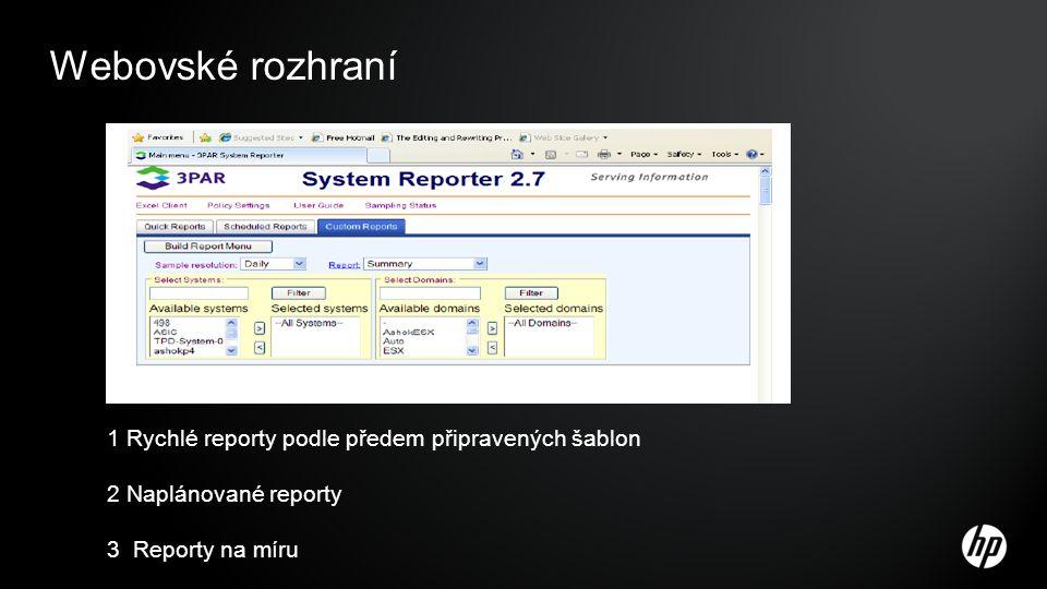 Webovské rozhraní 1 Rychlé reporty podle předem připravených šablon 2 Naplánované reporty 3 Reporty na míru